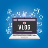 Blogging del video di Vlog Fotografia Stock Libera da Diritti