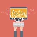 Blogging en het schrijven voor website, e-mail. Vectorillustratie, vlakke ontwerpstijl met in pictogrammen stock illustratie