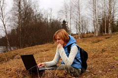 Blogging Everywhere with Laptop Stock Images