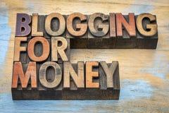Blogging für Geldfahne Lizenzfreie Stockfotografie