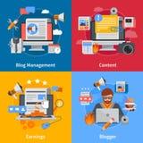 Blogging Flat 2x2 Icons Set Stock Photo