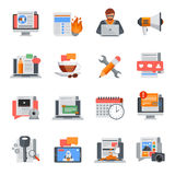 Blogging Flat Icons Set Stock Images