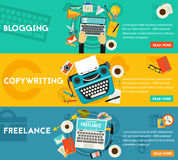 Blogging, Freelance And Copywriting Concept Banners Royalty Free Stock Images
