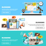 Blogging Horizontal Banners Set. Blogger banners collection with doodle style image compositions and social network icons with read more button vector Royalty Free Stock Photo