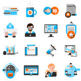 Blogging Icons Set. With laptop coffee and communication symbols flat isolated  illustration Stock Photos