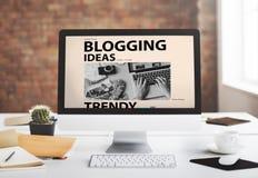 Blogging Ideen-zufriedenes Verbindungsvisions-Netz-Konzept Stockbild