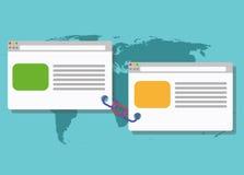 Blogging illustration förbindelsesammanlänkning för sammanlänkningsbyggnad royaltyfri illustrationer