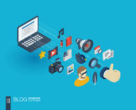 Blogging integrated 3d web icons. Growth and progress concept Royalty Free Stock Photos