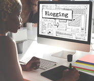 Blogging Internet-on-line-Verbindungs-Mitteilungs-Konzept Stockbilder