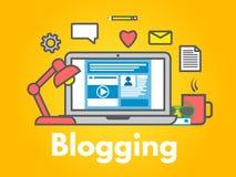 Blogging Konzept auf gelbem Hintergrund Laptop mit Ikonen Social Media-Teilen Flache Linie Art des Blogbeitrags Sehen Sie meine a lizenzfreie abbildung