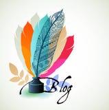 Blogging Konzeptfedern Stockfoto