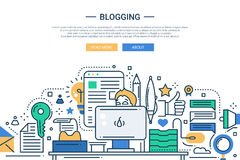 Blogging - line design website banner Royalty Free Stock Photos