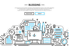 Blogging - line design website banner Stock Photos
