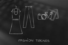 Blogging Mode: Kleider- und Jeansillustration mit Kamera Stockfoto
