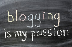Blogging is my passion. Phrase handwritten on blackboard Stock Photography