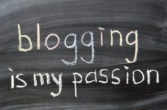 Blogging is my passion. Phrase handwritten on blackboard stock photography