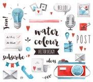 Blogging objekt för beståndsdelvattenfärgvektor royaltyfri illustrationer