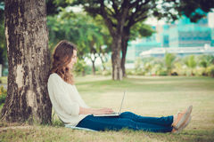 Blogging in the park stock photos
