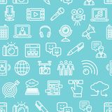 Blogging Pattern Background on a Blue. Vector. Blogging Pattern Background on a Blue Gadget Technology Communication Business Concept. Vector illustration of Royalty Free Stock Photos