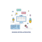 Blogging, podcasting and writing content banner. Made in line style Stock Photography