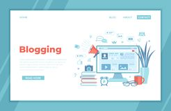 Blogging Posting Education Writing Internet Blog Content-strategy, text, title, photo, video. Monitor with web page, infographics,. Social media, books royalty free illustration