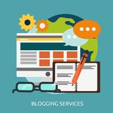 Blogging Services Conceptual Design. Great flat icons with style long shadow icon and use for internet, business, marketing and much more Royalty Free Stock Images