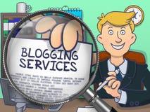 Blogging Services durch Lupe Blauer nahtloser Filetarbeitshintergrund für Design und Dekoration Stockfoto