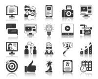 Blogging Online black silhouette icons vector set stock illustration