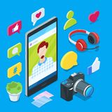Blogging and social media content creation. Photo or video blog vector 3d isometric icons. Internet business concept.  Stock Photography