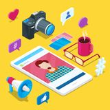 Blogging and social media content creation. Photo or video blog vector 3d isometric icons. Internet business concept royalty free illustration