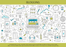 Blogging and social media. Hand drawn elements. Vector horizontal banner template. Doodle background. For banners and posters, cards, brochures, souvenirs Stock Photo