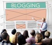 Blogging socialt massmedia för blogg som knyter kontakt internet som förbinder Concep Arkivbilder