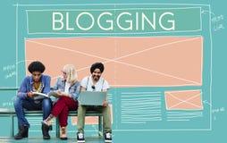 Blogging socialt massmedia för blogg som knyter kontakt internet som förbinder Concep Royaltyfri Bild