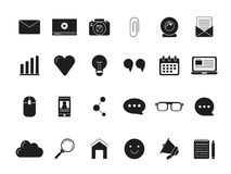 Blogging symbols. Web icon in black style. Vector monochrome pictures. Vlog media, blog communication computer, chatting and video web online illustration Royalty Free Stock Image