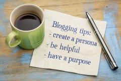 Blogging Tipps - Handschrift auf Serviette Lizenzfreie Stockfotos