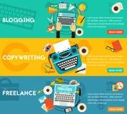 Blogging, travaillent en indépendantes et les bannières de concept de rédaction publicitaire Photographie stock libre de droits