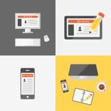 Blogging uppsättning Stock Illustrationer
