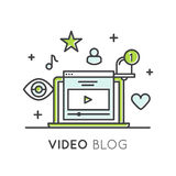 Blogging visuel ou la Manche en ligne de Vlogging avec les disciples et le contenu exclusif illustration de vecteur