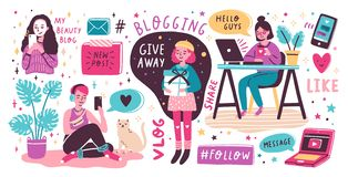 Blogging and vlogging set. Cute funny girls or bloggers creating content and posting it on social media, blog or vlog. Bundle of design elements isolated on stock illustration