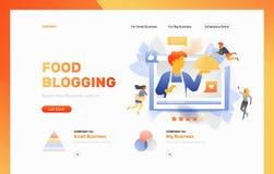 Blogging webbsidatitelrad för mat stock illustrationer