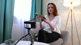 Blogging. Woman Filming Video With Fashion Accessories On Camera