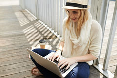Blogging woman stock image