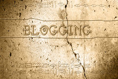 Blogging. Word blogging on wall with egyptian alphabet made in 2d software Royalty Free Stock Photos