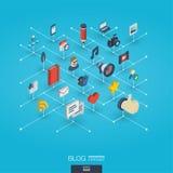 Blogging zintegrowane 3d sieci ikony Cyfrowej sieci isometric pojęcie Zdjęcie Royalty Free