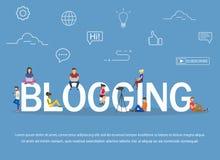 Bloggingsconcept jongeren laptops met behulp van en tabletten die voor lezingsbloggen en websites Royalty-vrije Stock Foto's
