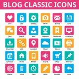 Bloggklassikersymboler symbolsinternetpictograms ställde in vektorrengöringsdukwebsite Minsta symboler i plan färg Social uppsätt Royaltyfria Bilder