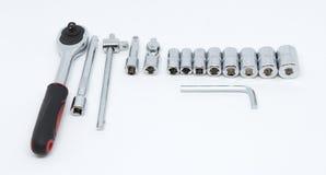 Bloggskiftnyckel och isolerat skruvmejselkvarterhjälpmedel Royaltyfri Foto