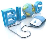 Bloggtext med jordjordklotet och datormusen vektor illustrationer