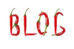 BLOGGtext som komponeras av chilipeppar. Royaltyfri Bild