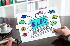 Blogkonzept auf einem Papier Stockbild
